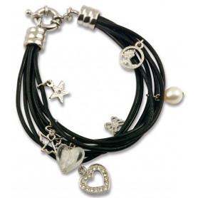 Bracelet 7 lanières cuir et 7 pendentifs - 75245 - Uljo