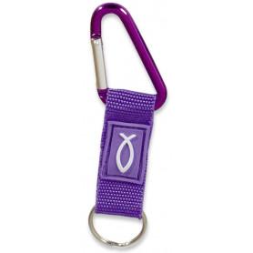 Porte-clés mousqueton Ichthus tissu violet – 729708 - Uljo