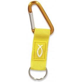Porte-clés mousqueton Ichthus tissu jaune – 729709 - Uljo