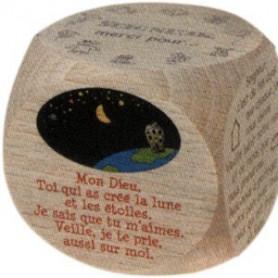Dé en bois avec prières du soir 6cm - 72505