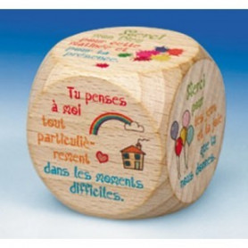 Mini dé en bois Merci 5cm - 72544 - Uljo