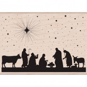 Tampon bois Nativité - Hero Arts Nativity Stamp