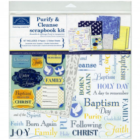Set de papier 30x30 Baptême 8f - Karen Foster Purify & Cleanse Kit