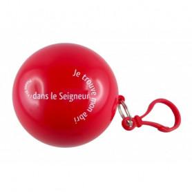 Poncho de pluie dans une boule Psaume 91.1 rouge - 72214 - Uljo