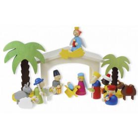 Crèche et figurines en bois 15 pc - 71186