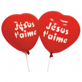 Ballons rouge Jésus t'aime 10 pc - 71302