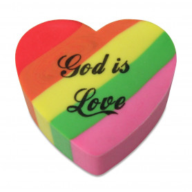 Gomme coeur God is Love 2,8 cm - 72046 - Uljo