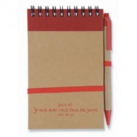 Bloc-note stylo Jésus dit je suis avec vous 9x14,5 cm rouge - 727731 - Uljo