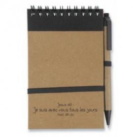 Bloc-note stylo Jésus dit je suis avec vous 9x14,5 cm noir - 727734 - Uljo
