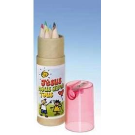 Etui 12 crayons de couleur avec taille crayon - rose - 71868-6