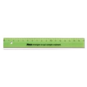 Règle vert Jésus enseigne ce qui compte vraiment 17 cm - 71543-7 - Uljo