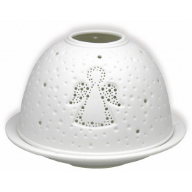 Photophore dôme en porcelaine motif ange - 74738 - Uljo