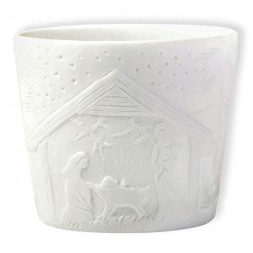 Photophore dôme en porcelaine motif crèche - 74740 - Uljo