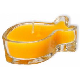 Bougeoir ichthus en verre 6 cm jaune – 721229 - Uljo