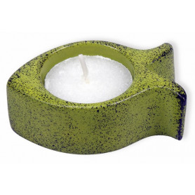 Bougeoir ichthus en pierre 7 cm sans bougie vert – 72390 - Uljo