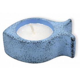 Bougeoir ichthus en pierre 7 cm sans bougie bleu – 72391 - Uljo