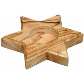 Bougeoir étoile en bois d'olivier 11 cm – 72642 - Uljo