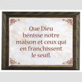 Céramique Que Dieu bénisse notre maison avec cadre - 20x15 cm - 76210