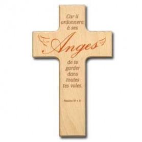 Croix en bois Car il ordonnera à ses anges 9x15cm– 72574