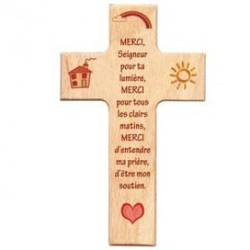 Croix en hêtre Merci Seigneur