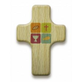 Mini croix en bois symboles Sainte Cène 4x6cm - 72550