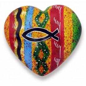 Mini coeur décoratif en pierre avec Ichthus 5cm - 72452