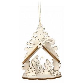 Mini crèche 3D en bois à suspendre – décoration de Noël - 72619
