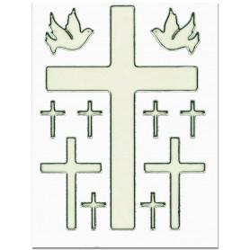 Planche de 11 autocollants Croix Colombes 10x7,5cm - 71777