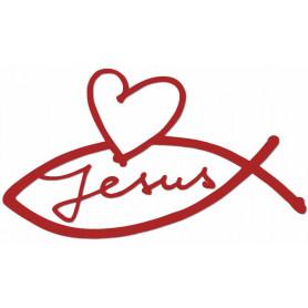 Autocollant Ichthus Jésus et coeur rouge 8,5cm - 71684