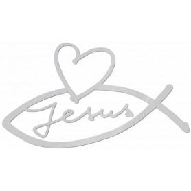 Autocollant Ichthus Jésus et coeur gris 8,5cm - 71685