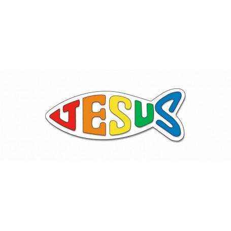 Autocollant Ichthus Jésus arc-en-ciel petit format