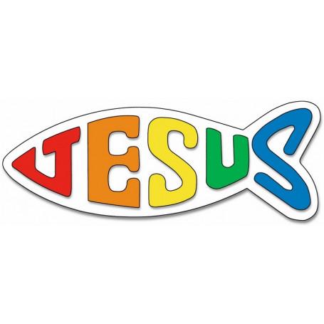 Autocollant Ichthus Jésus arc-en-ciel grand format
