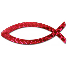 Autocollant Ichthus magnétique rouge 11cm - 717531