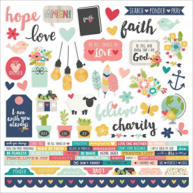 Combo Stickers Faith 30x30 - Simple Stories