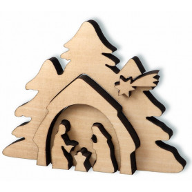 Crèche en bois effet 3D 13x9,5 cm – 72645 - Uljo