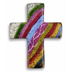 Croix en stéatite fait main arc-en-ciel 4,5x5,5 cm - 72481