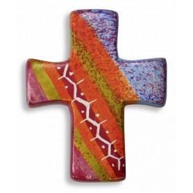 Croix en stéatite fait main rouge rose et violet 4,5x5,5 cm - 72482
