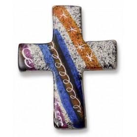 Croix en stéatite fait main bleu orange et blanc 4,5x5,5 cm - 72483
