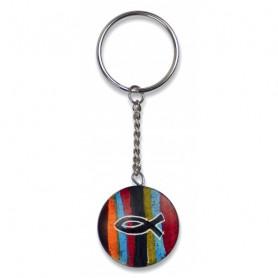 Porte-clés en stéatite avec Ichthus - fait main 3 cm – 72906 - Uljo