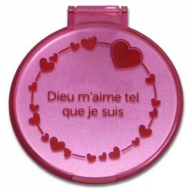 Miroir de poche coeur - Dieu m'aime tel que je suis - rose – 71412 - Uljo