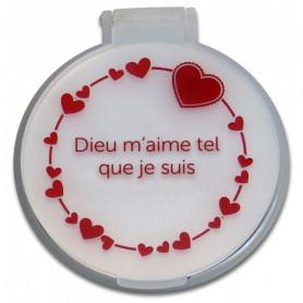 Miroir de poche coeur - Dieu m'aime tel que je suis - blanc – 71413 - Uljo