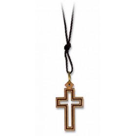 Pendentif croix ajourée en bois d'olivier avec fin cordon 72 cm – 75296 - Uljo