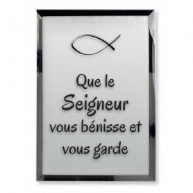 Tableau Miroir Que le Seigneur vous bénisse et vous garde - 7,5x10 cm - 76134