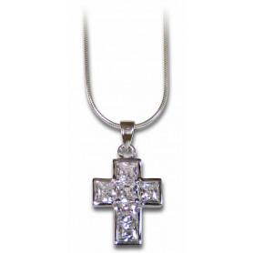 Pendentif croix et zirconium avec chaine 45 cm – 75299 - Uljo