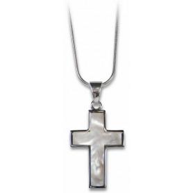 Pendentif croix et nacre avec chaine 45 cm – 75300 - Uljo