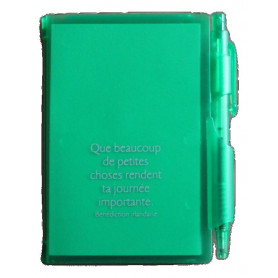 Bloc-notes stylo Vert Que beaucoup de petites choses 7x10,5cm - 72794-3 - Uljo