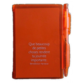 Bloc-notes stylo Orange Que beaucoup de petites choses 7x10,5cm - 72794-10 - Uljo