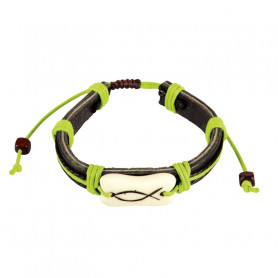Bracelet en cuir Leo vert avec Ichthus - 6043 - Praisent