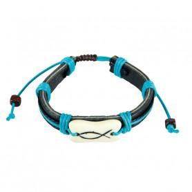 Bracelet en cuir Leo bleu avec Ichthus - 6081 - Praisent