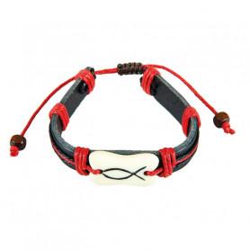 Bracelet en cuir Leo rouge avec Ichthus - 6082 - Praisent
